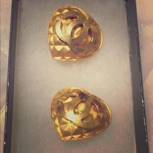 Chanel Heart Clip/on Earrings